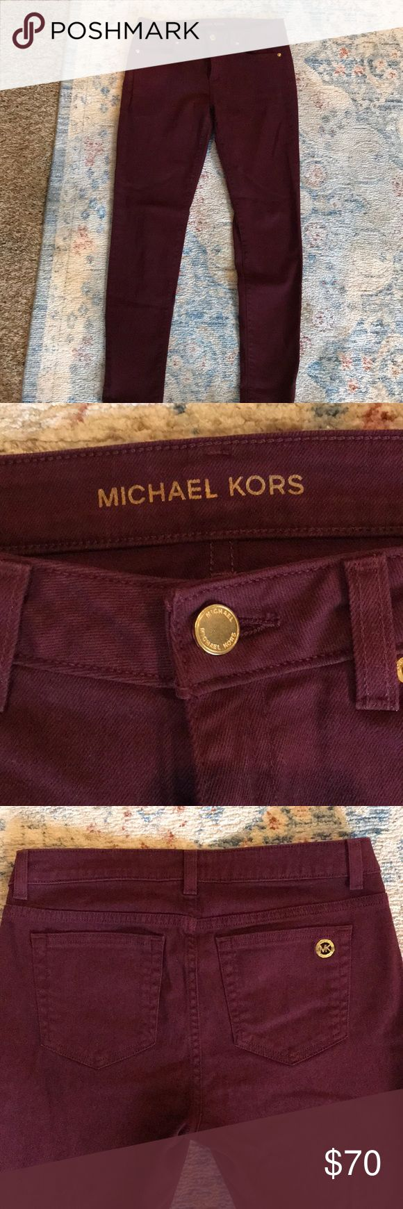 Michael Kors maroon skinny jeans Maroon jeans in excellent condition..Size 2. Worn and washed once! Michael Kors Jeans Skinny