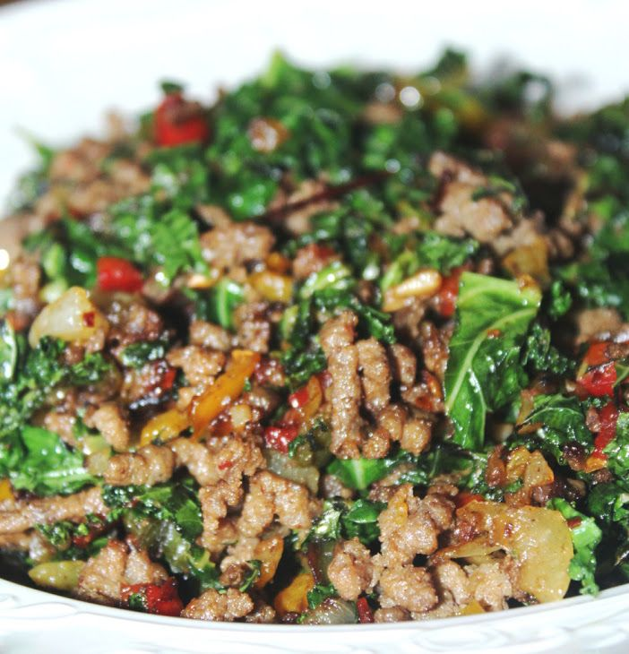 Sauteed Ground Beef and Kale Recipe with olive oil, chopped onion, chopped green bell pepper, yellow bell pepper, red bell pepper, garlic cloves, ground beef, kale, salt, pepper