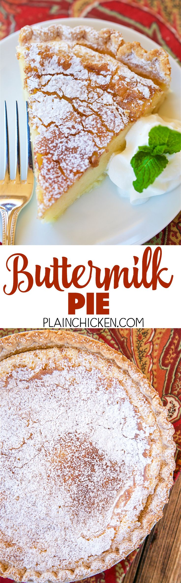 Buttermilk Pie - so simple, yet so AMAZING! Perfect ending to your holiday meal! Can make ahead of time and refrigerate until ready to serve. Eggs, sugar, flour, buttermilk, vanilla, butter, cinnamon-sugar. This pie is SO good! It is always the first thing to go!