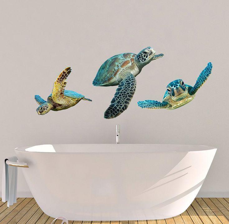 Sea Turtle Decals Wall Decals Bathroom Stickers Bathroom Decor Turtle Decal Ocean Life Decor Tropical Decor Coastal Wall Decor Tropical Home Decor Tropical Decor Turtle Wall Decals