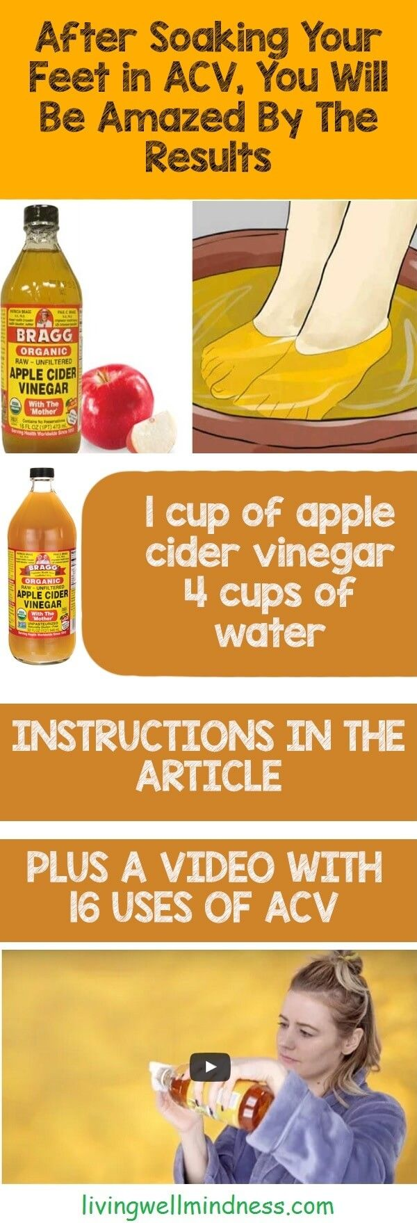 After Soaking Your Feet in Apple Cider Vinegar, You Will Be Amazed By The Results - Living Wellmindness