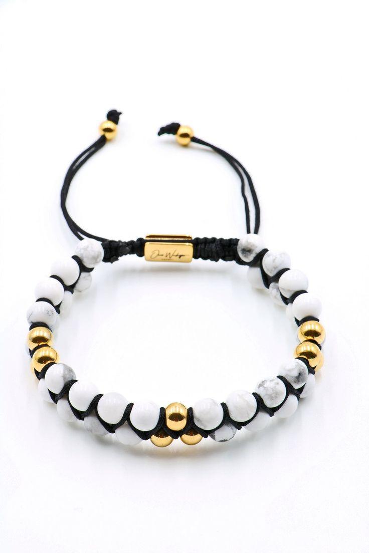 White Howlite Double Beaded Bracelet 6mm