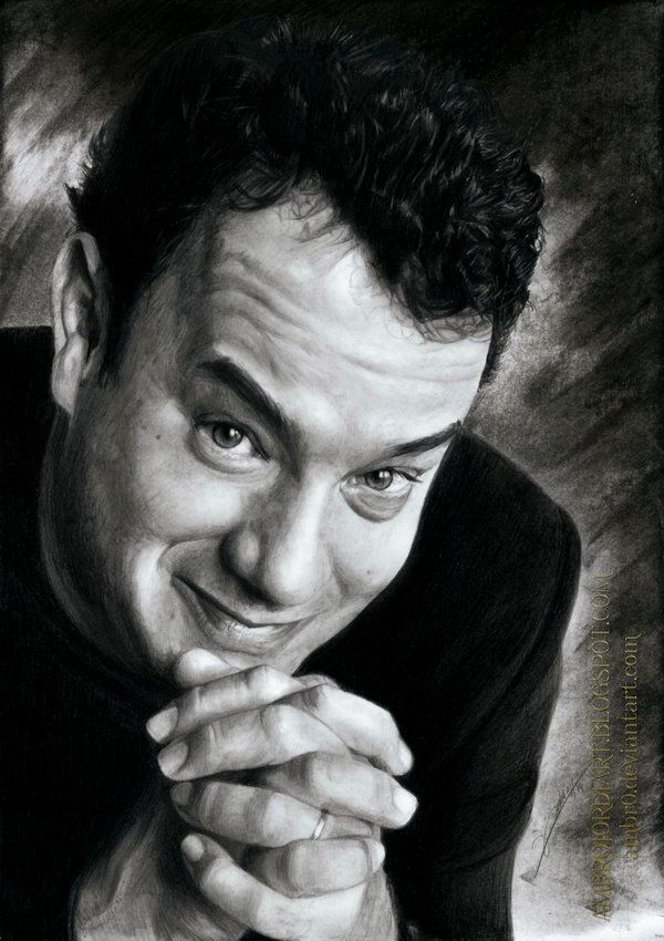 Tom Hanks by AmBr0 - charcoal and pencil drawing  | First pinned to Celebrity Art board here... http://www.pinterest.com/fairbanksgrafix/celebrity-art/ #Drawing #Art #CelebrityArt