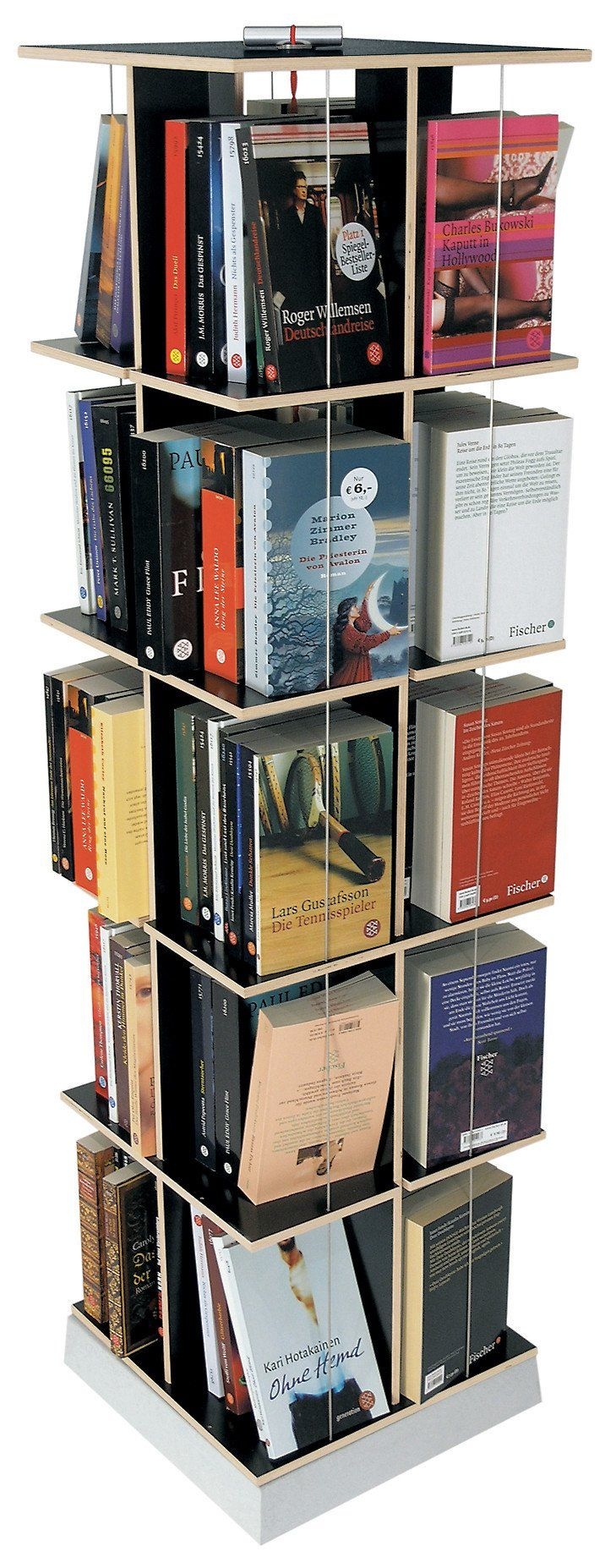 D    Tom Fischer 2004M   Moormann Buchstabler is a pivotable rack for pocket books and DVDs. With purchases kept on a minimum, a maximum amount of books...