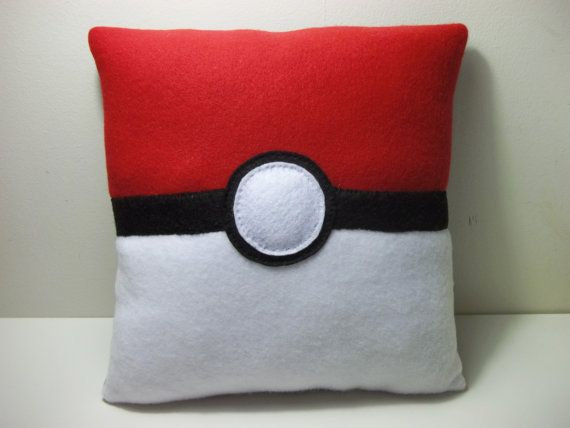 Pokemon Pokeball Fleece Pillow by TheGeekyGiraffe on Etsy, $20.00