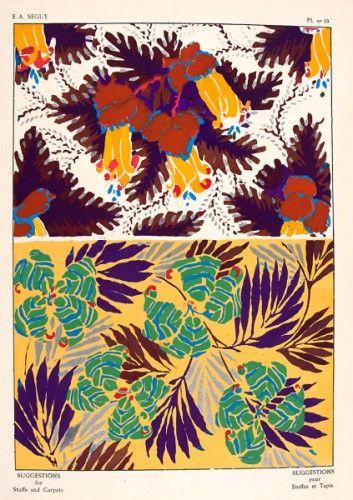 SEGUY, E. A. Suggestions pour Etoffes et Tapis. Plate no.15. Original pochoir lithograph for Suggestions pour Etoffes et Tapis, #Paris #1925 #pattern #design #textiles #colour #print