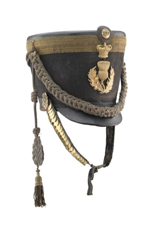 A FINE AND RARE OFFICER'S 'REGENCY' PATTERN SHAKO, PROBABLY KIRKCUDBRIGHT AND WIGTON MILITIA, CIRCA 1816-22