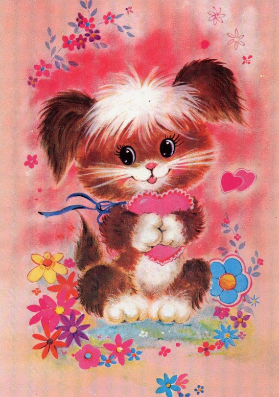 Vintage puppy postcard  70s by CuteEyeCatchers on Etsy