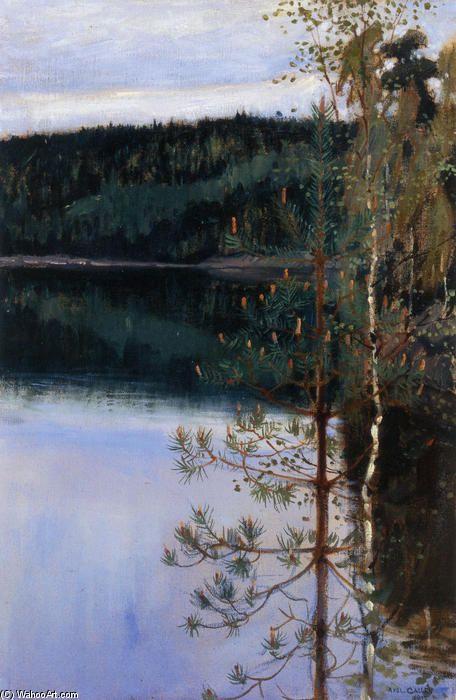 Vue d un lac, huile sur toile de Akseli Gallen Kallela (1865-1931, Finland)