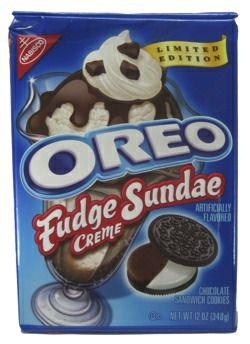 Limited Edition Oreo Fudge Sundae Creme- What is black, white and red all over? An Oreo Fudge Sundae Creme on top of an apple. HA! HA! HA! I know. Right about now you want to punch me in the face for that horrible riddle. I'll admit…
