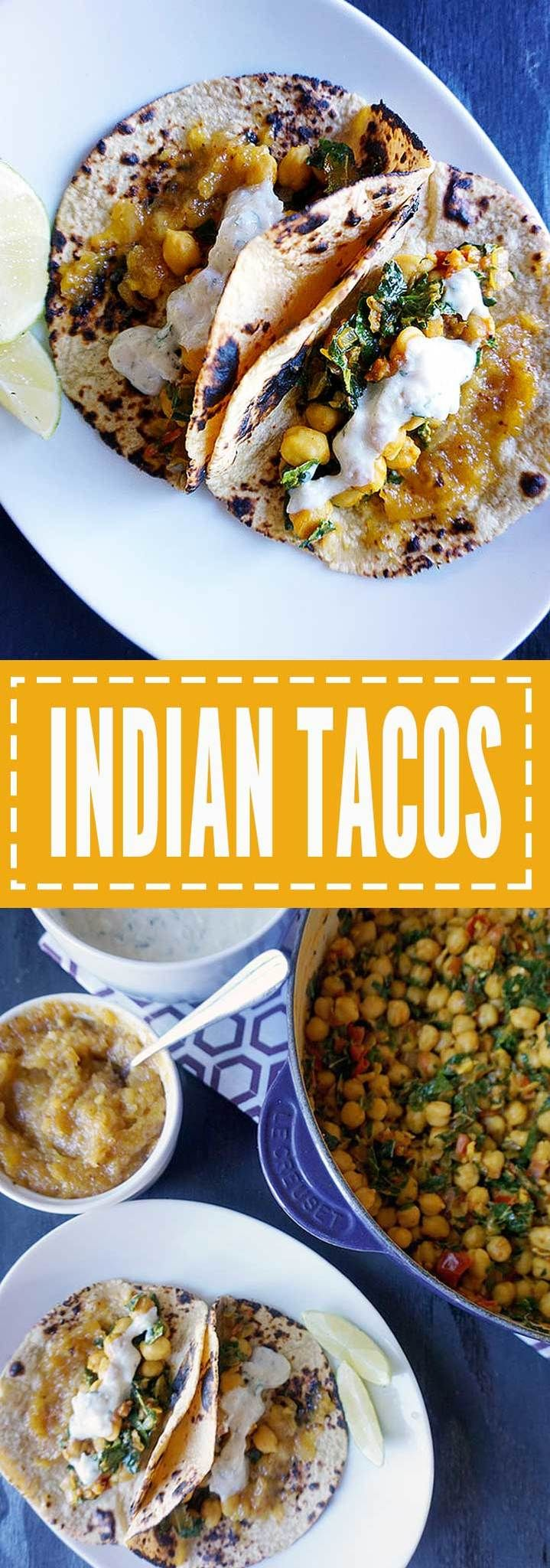 Spicy and satisfying Indian Tacos. Creamy coconut curried chickpeas and greens topped with tangy chutney and cooling vegan raita in a warmed corn tortilla.