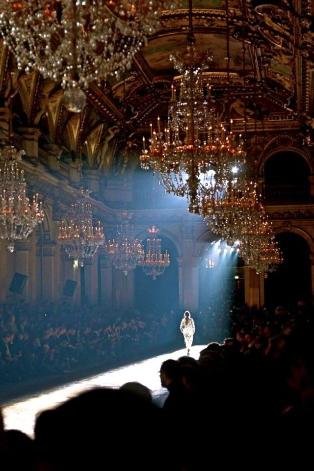 I want to work behind the scenes at a fashion show for a high end designer: Inspiration, Fashion Show, Fashion Week, Chandeliers, Runway, White, Photography, Black
