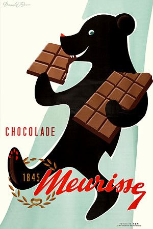 Vintage Chocolate Bear Poster Print Affiche vintage chocolat ours