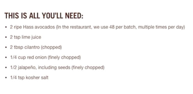 To be honest, the recipe isn�t that different from your average guacamole recipe. The ingredients are pretty standard� | Chipotle Released Its Guacamole Recipe (For No Extra Charge)