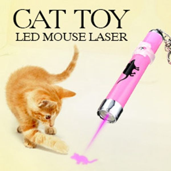 Pet Cat Toys New Creative Funny Portable LED Laser Pointer light Pen With Bright Animation Mouse Shadow for Cat Toy Color Random