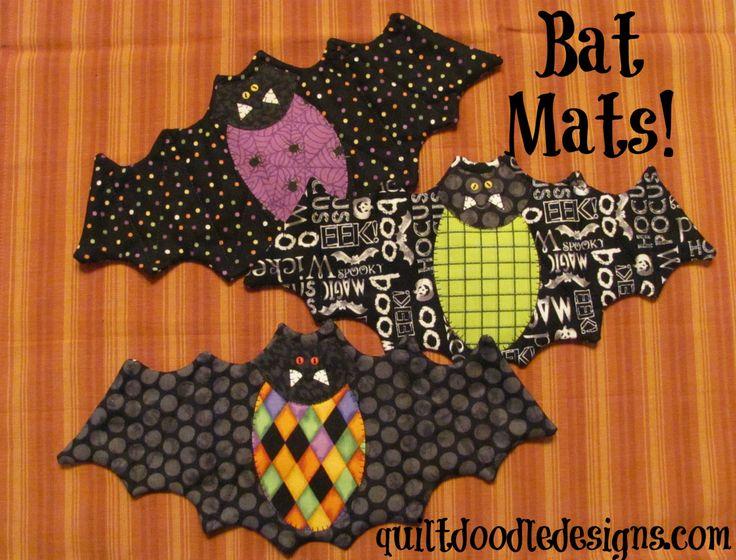 Going Batty Bat Mug Mats for Halloween PDF pattern by quiltdoodledesigns on Etsy https://www.etsy.com/au/listing/252392833/going-batty-bat-mug-mats-for-halloween
