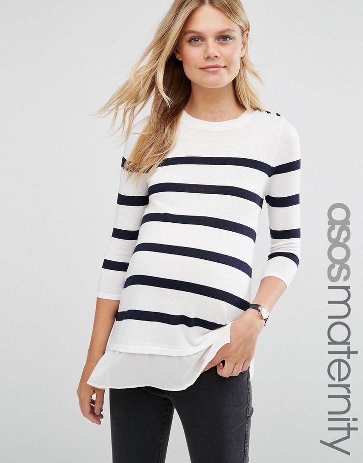 Image 1 ofASOS Maternity Breton Stripe Top with Button