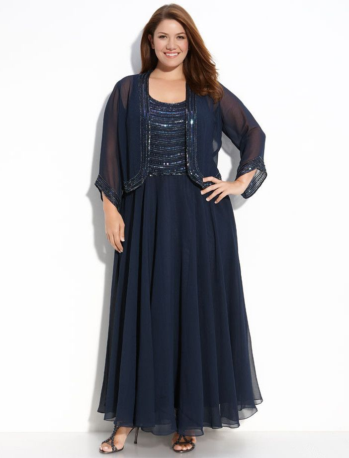 Scoop Neck Ankle-length Plus Size Mother Of The Bride Jacket Dress