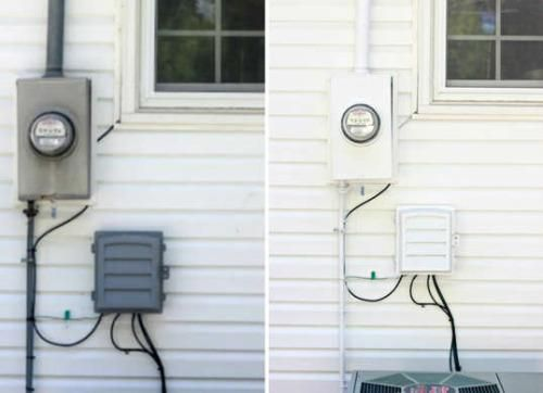 Before and After: DIY Facelifts for 8 Home Exteriors -- how much nicer to have those ugly utility boxes blend in with house rather than utilitarian gray?