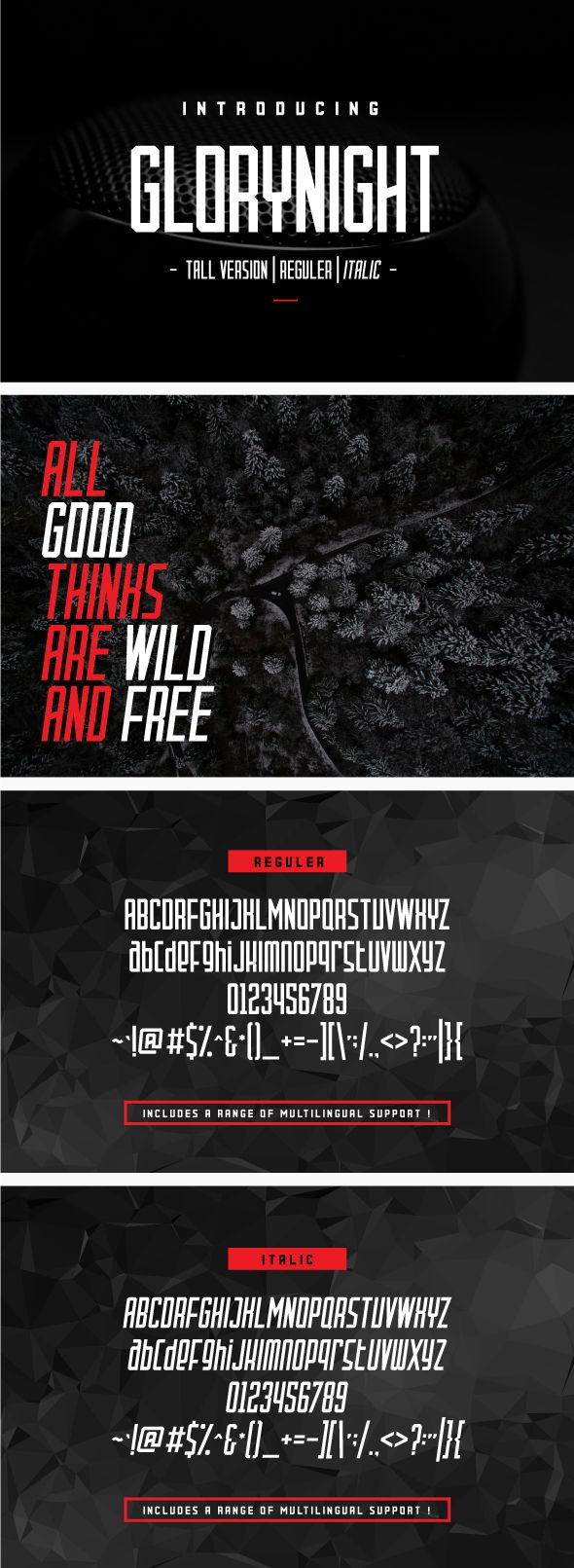 Glorynight Tall Ver. Glorynight is a Display Sans font ( reguler and italic ). Made with the principle of octagonal form. It look manly, classy and strong. Suitable for any design needs : technological, sport, fashion, modern branding, modern advertising, print identity, magazine, website, mobile application and more.