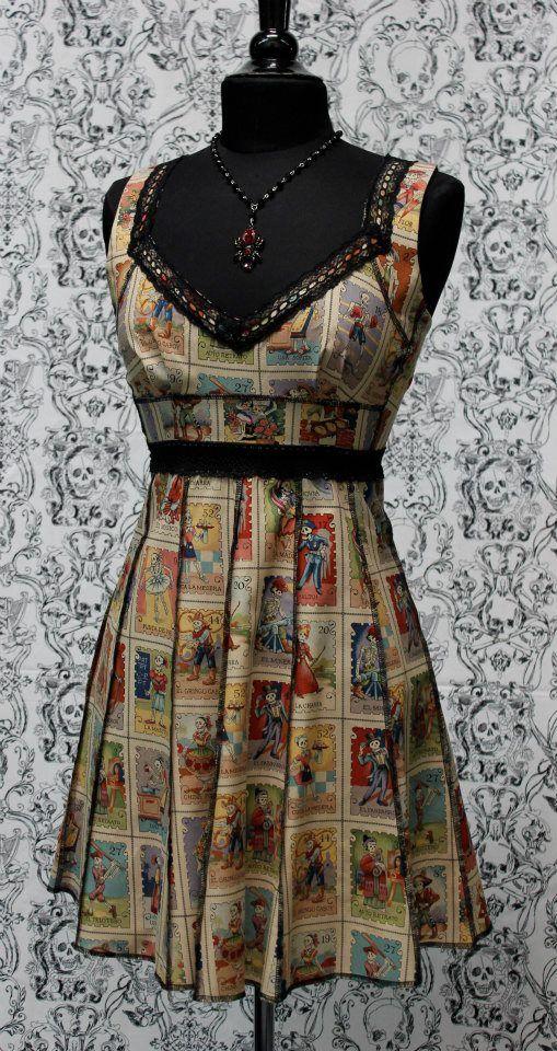 884fba5701c VINTAGE STYLE COCKTAIL DRESS - LOTERIA DE LOS MUERTOS