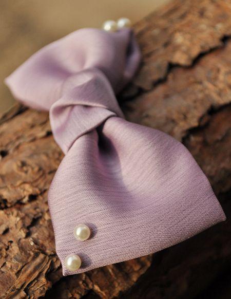 Beads Decorated Satin Bow Hair Clip