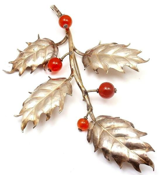 RARE and STUNNING! M BUCCELLATI 800 SILVER CARNELIAN HOLLY BERRY BROOCH PIN - Fortrove