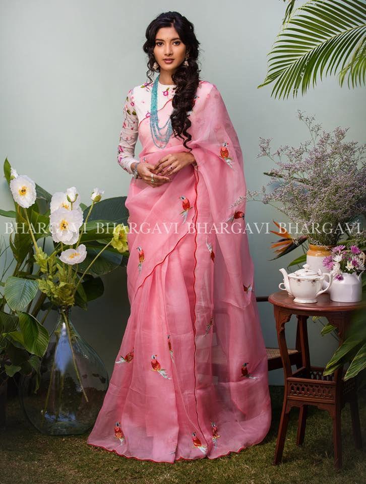 7482830966 Light Pink Organza Saree from Bhargavi Kunam www.yarnstyles.com   Ms ...