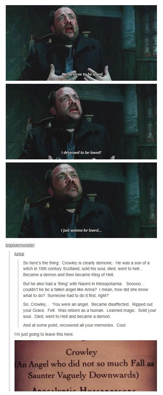 """""""Crowley - good catch! inconsistency or plot twist???"""" That would be such a cool revelation!"""