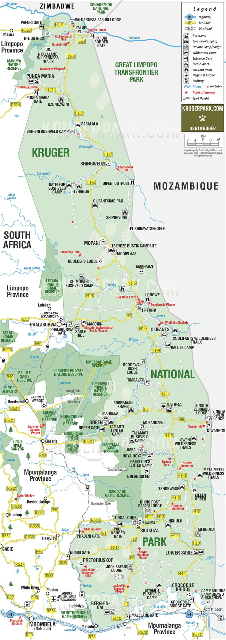 Full map of the Kruger National Park | Safari.com