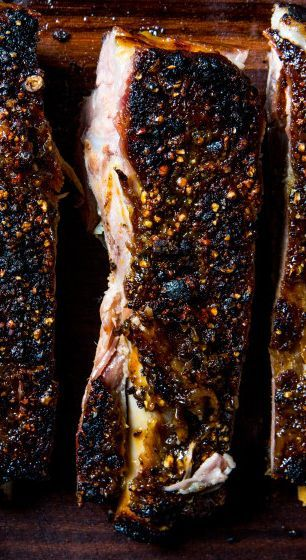 Pastrami Ribs recipe: The ribs become completely tender during the initial cooking, then are crisped under the broiler before serving.
