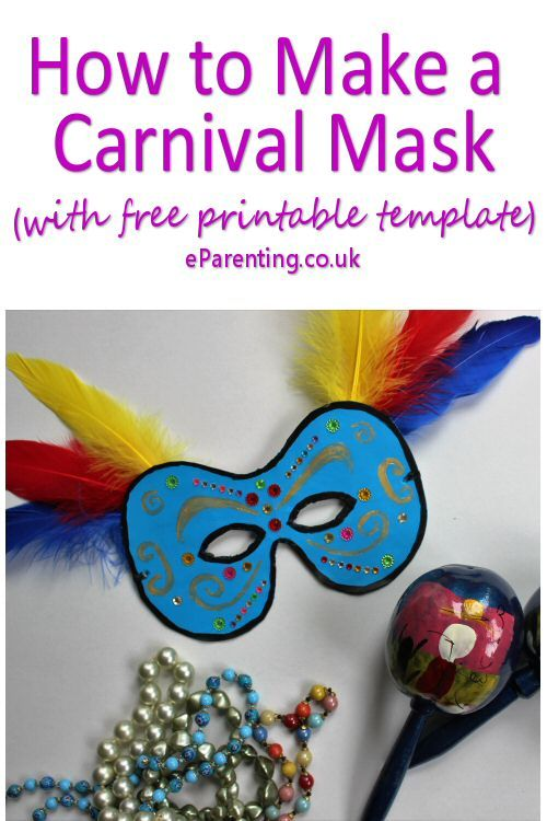 Easy instructions how to make a DIY carnival mask for kids. Perfect for Mardi Gras, Carnival, Halloween, Karneval or Fastnacht. It even includes free printable mask template.  #howtomakeamask #howtomakeacarnivalmask #CarnivalMask #Halloween #mardigras #mardigras2018 #maskedball #carnival #fastnacht #partycostumes