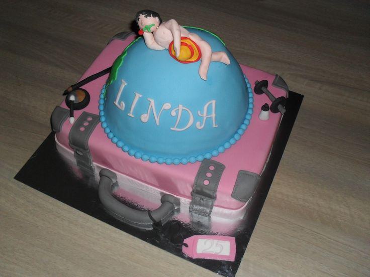 Koffer, wereldbol taart/ Suitcake, globe cake