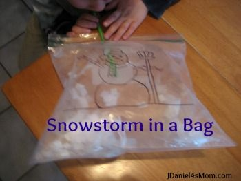 Preschool Activity- Snowstorm in a Bag: Trace a snowman onto a large plastic storage bag using a clip art snowman.Then gather materials that you think would make good snow to blow around in the bag. Tape the open edge with a straw inserted in the middle and blow!
