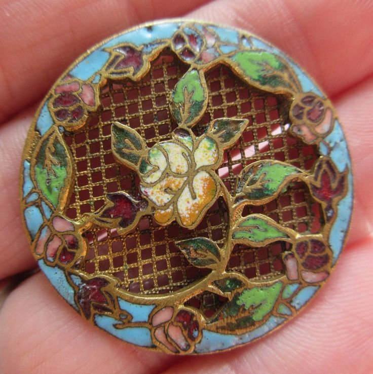 Exceptional LARGE Antique French Champleve ENAMEL BUTTON Roses w/ Screen Back