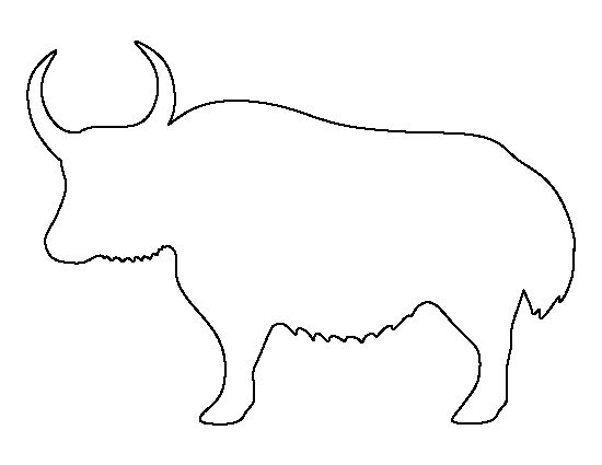 Yak pattern. Use the printable outline for crafts