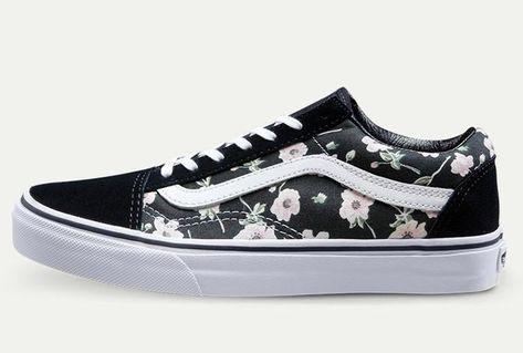 b396193d5f674b Vans Flower Print Women Old Skool Black Skate Shoes  Vans