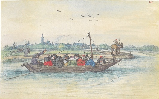 Adriaan van der Venne, Trekschuit op de Vliet bij Den Haag (1626).
