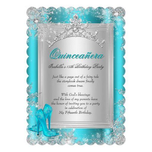 Quinceanera 15th Winter Wonderland Teal Aqua Cards