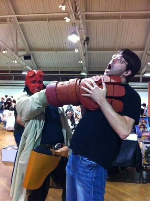 Me choking Joe Hill in my finished Hellboy costume. More pics are up on my facebook if anyone's interested