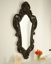 $475 Large Oval Black Baroque Mirror