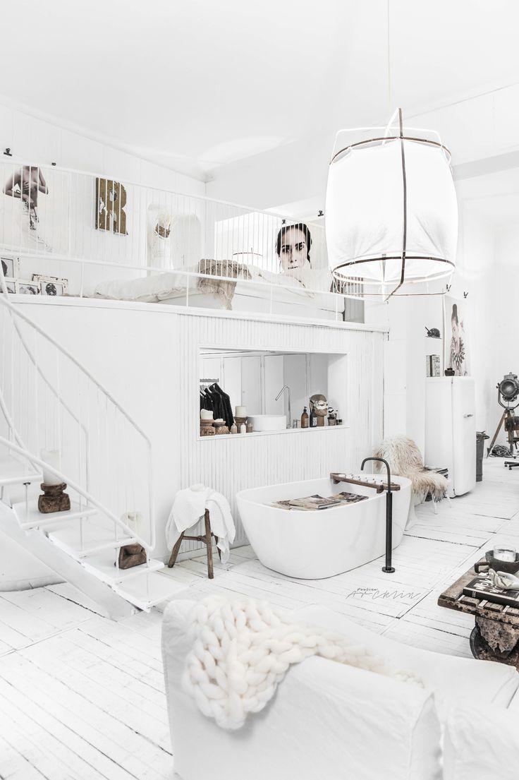 PAULINA ARCKLIN'S LOFT FEATURING PIET BOON BY COCOON FREESTANDING BATHTAP IN GUNMETAL BLACK | Modern Industrial Rustic Chic Bathroom Design | Dutch Designer Brand COCOON | Photo © Paulina Arcklin