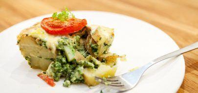 Grateng med potet, spinat og brokkoli