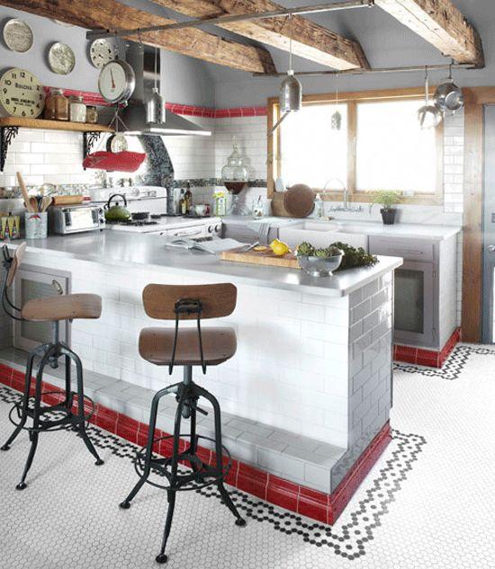 Neko Case's Vermont farmhouse kitchen. Wicked cool!