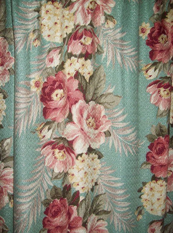 Vintage barkcloth pair curtains aqua pink roses panels ...