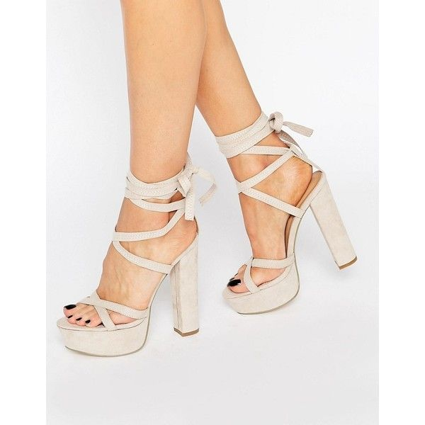 Truffle Tie Up Block Heel Sandal (180 PLN) ❤ liked on Polyvore featuring shoes, sandals, beige, block-heel sandals, ankle strap shoes, open toe sandals, ankle strap sandals and beige high heel sandals