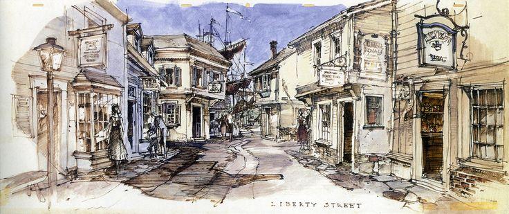 Liberty Street, Disneyland (never built) - Herb Ryman