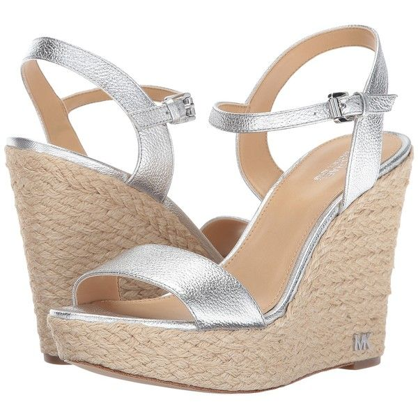 MICHAEL Michael Kors Jill Wedge (Silver) Women's Wedge Shoes ($65) ❤ liked on Polyvore featuring shoes, sandals, silver, silver wedge sandals, wedge sandals, platform shoes, michael michael kors sandals and wedge heel sandals