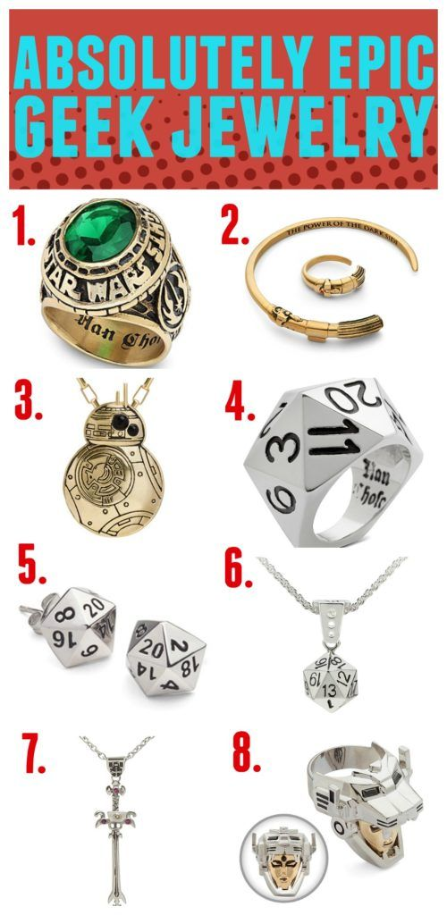 Absolutely epic geek jewelry that you need to own or gift! Star Wars, 20 sided dice (D20) Voltron, Deadpool and more.