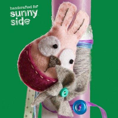 Πασχαλινή Λαμπάδα Ροζ/Φούξια με Χειροποίητη Καρφίτσα Κουνελάκι με Ανεμόμυλο - Sunnyside